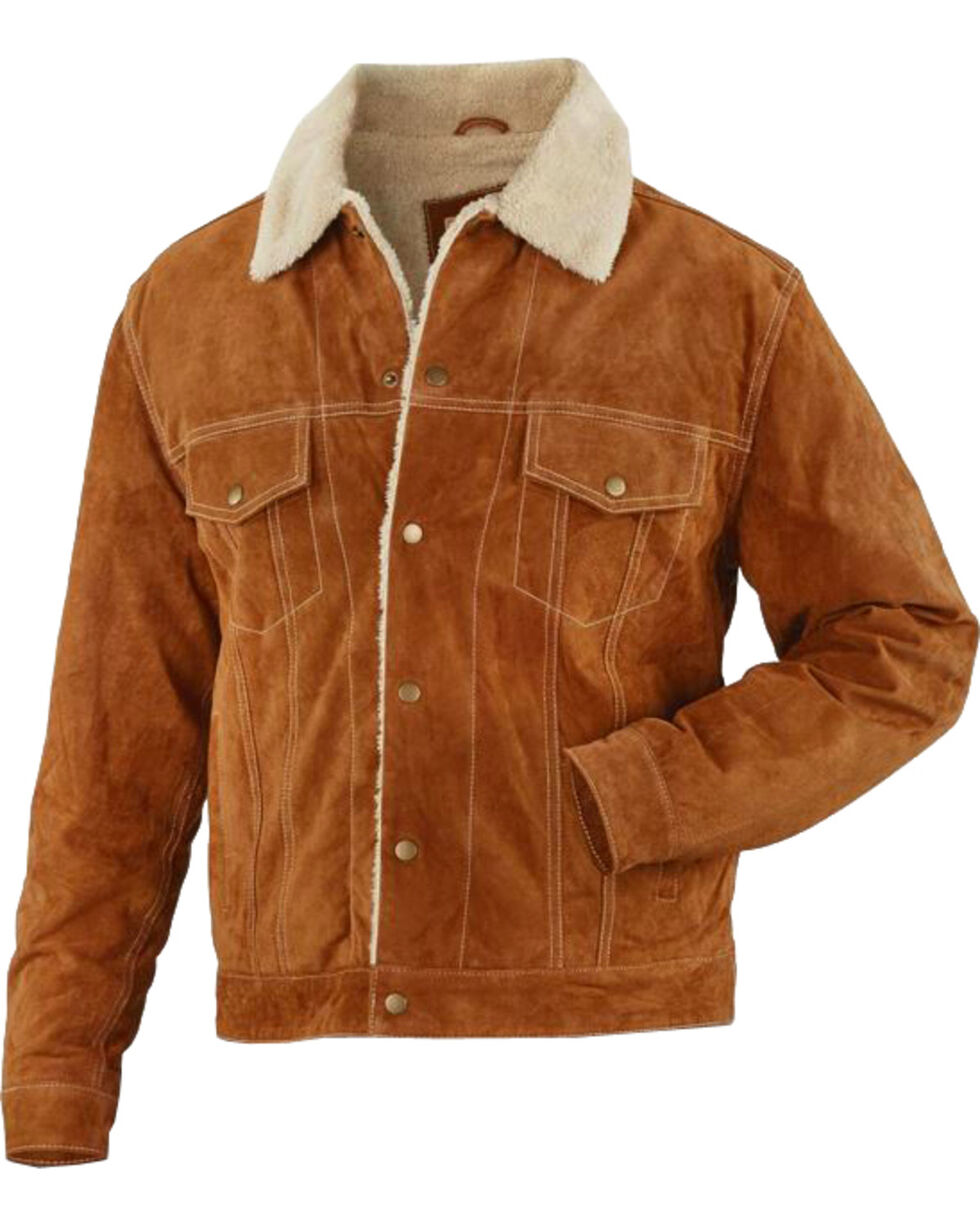 Vintage Leather Brown Suede Sherpa-Lined Jacket , , hi-res