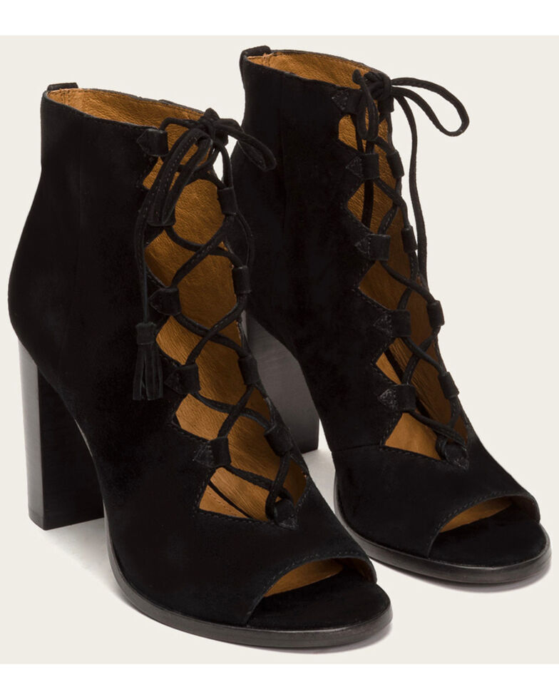 a387228a26e Frye Women s Black Gabby Ghillie Booties - Round Toe