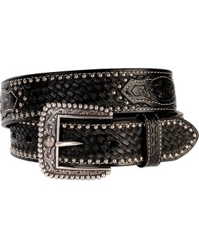 Ariat Men's Tooled Leather Belt, Black, hi-res