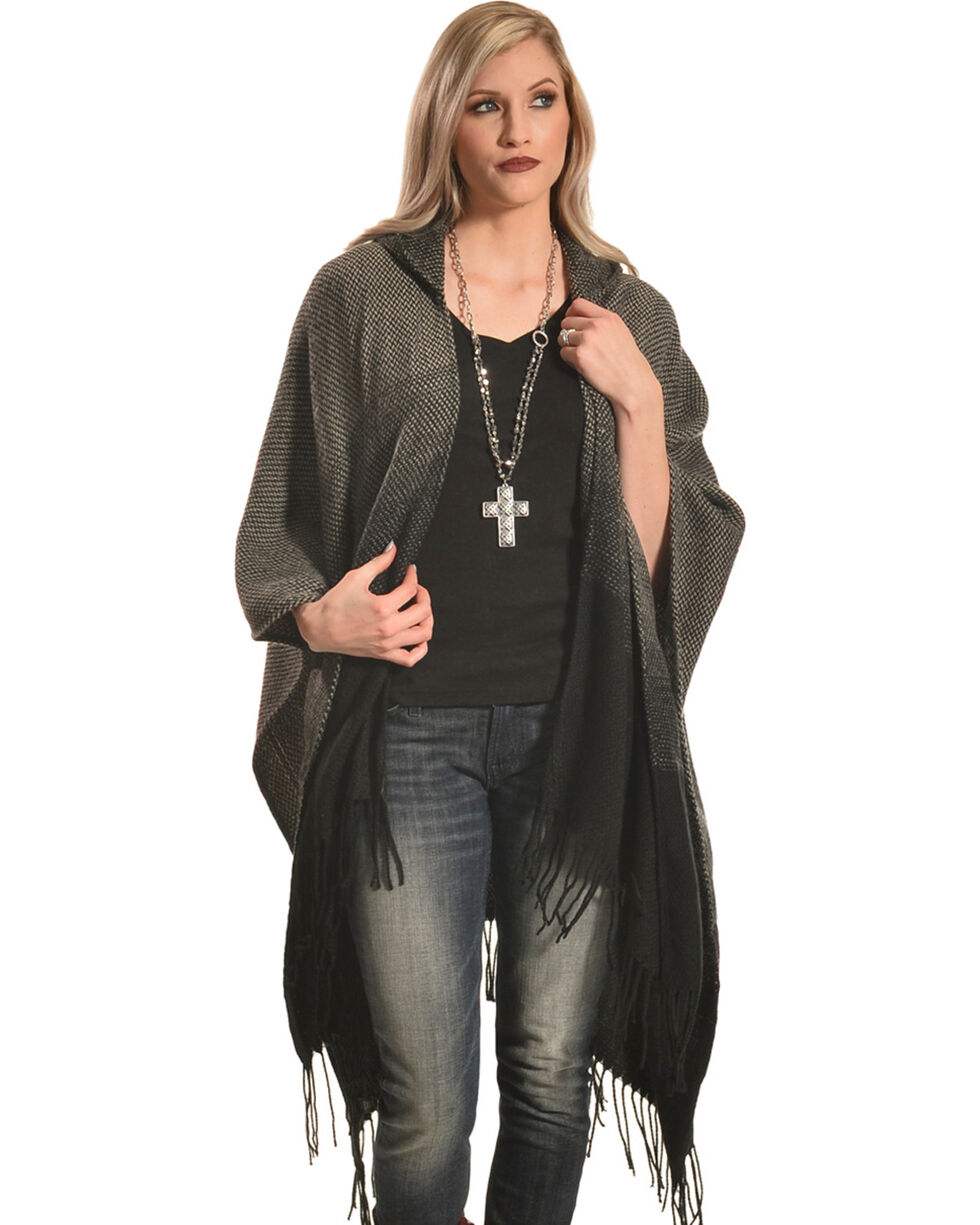 Shyanne Women's Moonlight Ombre Poncho with Hoodie, Black, hi-res