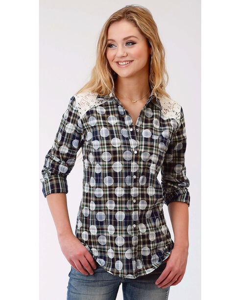 Roper Women's Long Sleeve Polka Dot Plaid Western Snap Shirt, Multi, hi-res