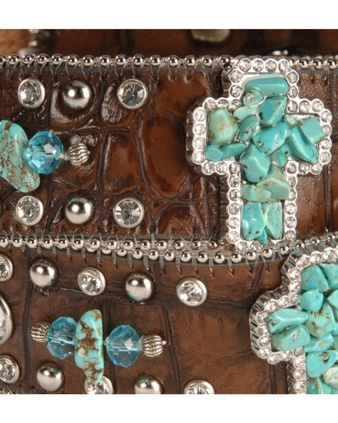 Nocona Turquoise-hue Stone Cross & Croc Print Leather Belt, Brown, hi-res