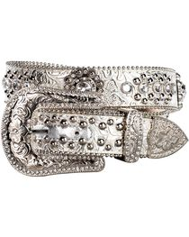 Blazin Roxx Floral Concho & Crystal Metallic Silver Leather Belt, , hi-res