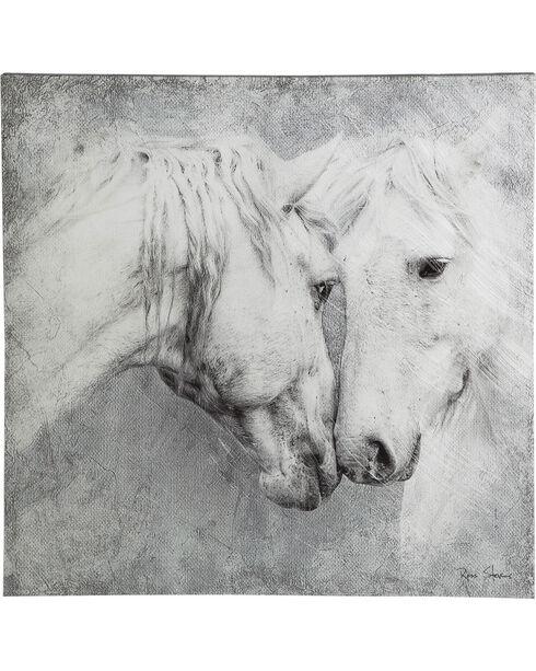 Evergreen Meeting Horses Indoor Wall Canvas , Grey, hi-res