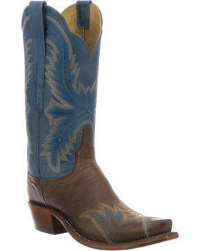 Lucchese Women's Shelley Chocolate Cowhide Stitched Wingtip Cowgirl Boots - Snip Toe, Black, hi-res