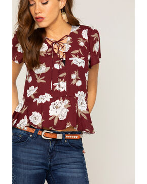 Shyanne® Women's Floral Lace Up Peplum Top, Burgundy, hi-res
