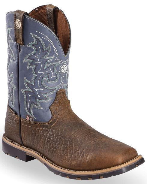 Justin Men's Waterproof Buff Western Boots, Chocolate, hi-res