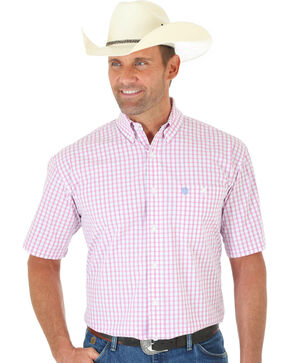 Wrangler George Strait Pink Plaid Short Sleeve Shirt , Pink, hi-res