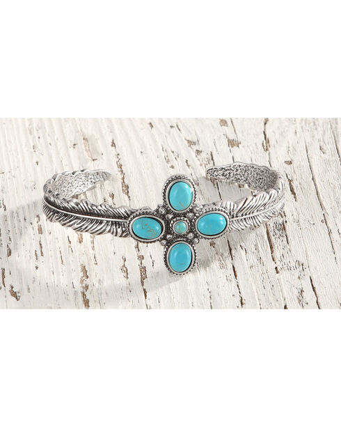 Shyanne® Women's Feather Turquoise Stone Cuff Bracelet, Silver, hi-res