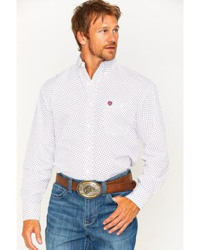 Wrangler Men's White George Strait Button Down Print Shirt , White, hi-res