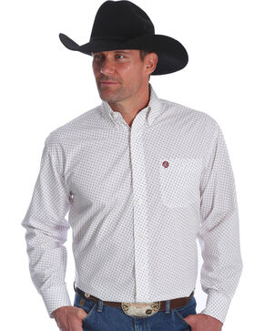 Wrangler Men's White George Strait Button Down Print Shirt - Big & Tall , White, hi-res