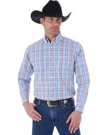 Wrangler George Strait Men's Blue and Navy Plaid Western Shirt , , hi-res