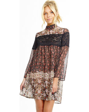 Mary & Mabel Women's Contrast Floral Dress, Multi, hi-res