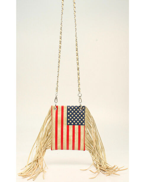 Blazin Roxx Women's American Flag Fringe Crossbody Bag, Multi, hi-res