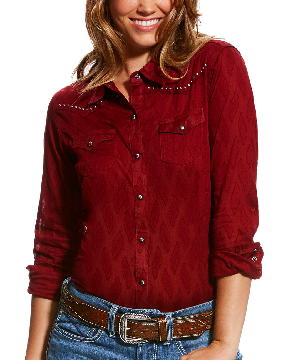Ariat Women's Red Borrendo Long Sleeve Shirt , , hi-res
