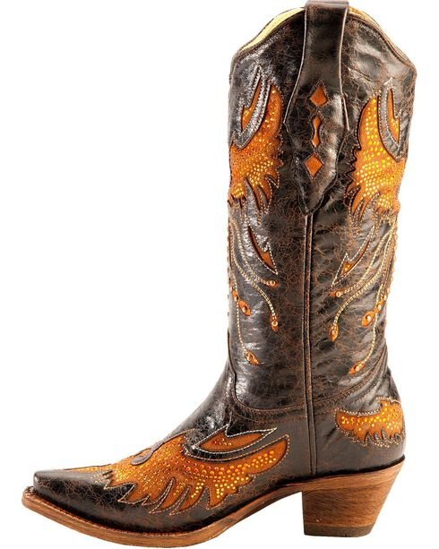 Corral Women's Eagle Inlay and Crystal Snip Toe Boots, Black, hi-res