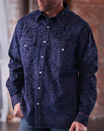 Ryan Michael Men's Indigo Flocked Jacquard Shirt , , hi-res