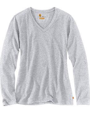 Carhartt Women's Brown Lockhart Long Sleeve V-Neck Shirt , Heather Grey, hi-res