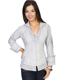 Scully Cross Embroidered Long Sleeve Top, , hi-res