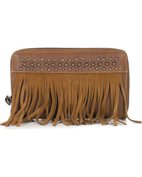 Shyanne® Women's Studded Fringe Wallet, Brown, hi-res