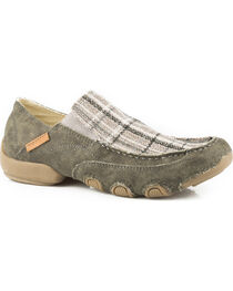 Roper Men's Grey Dougie Army Canvas Casual Driving Moc Shoes , , hi-res