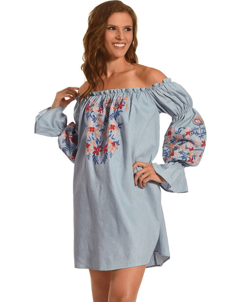 J JUVA Women's Embroidered Long Sleeve Off the Shoulder Dress, Blue, hi-res