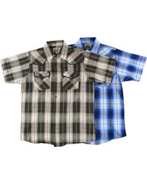 Ely Cattleman Boys' Assorted Textured Plaid Short Sleeve Shirt, , hi-res
