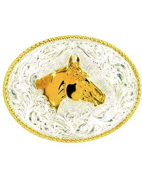 Crumrine Horse Head Buckle, Silver, hi-res