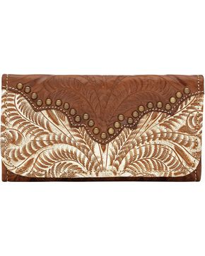 American West Women's Annie's Secret Tri-Fold Wallet, Cream, hi-res