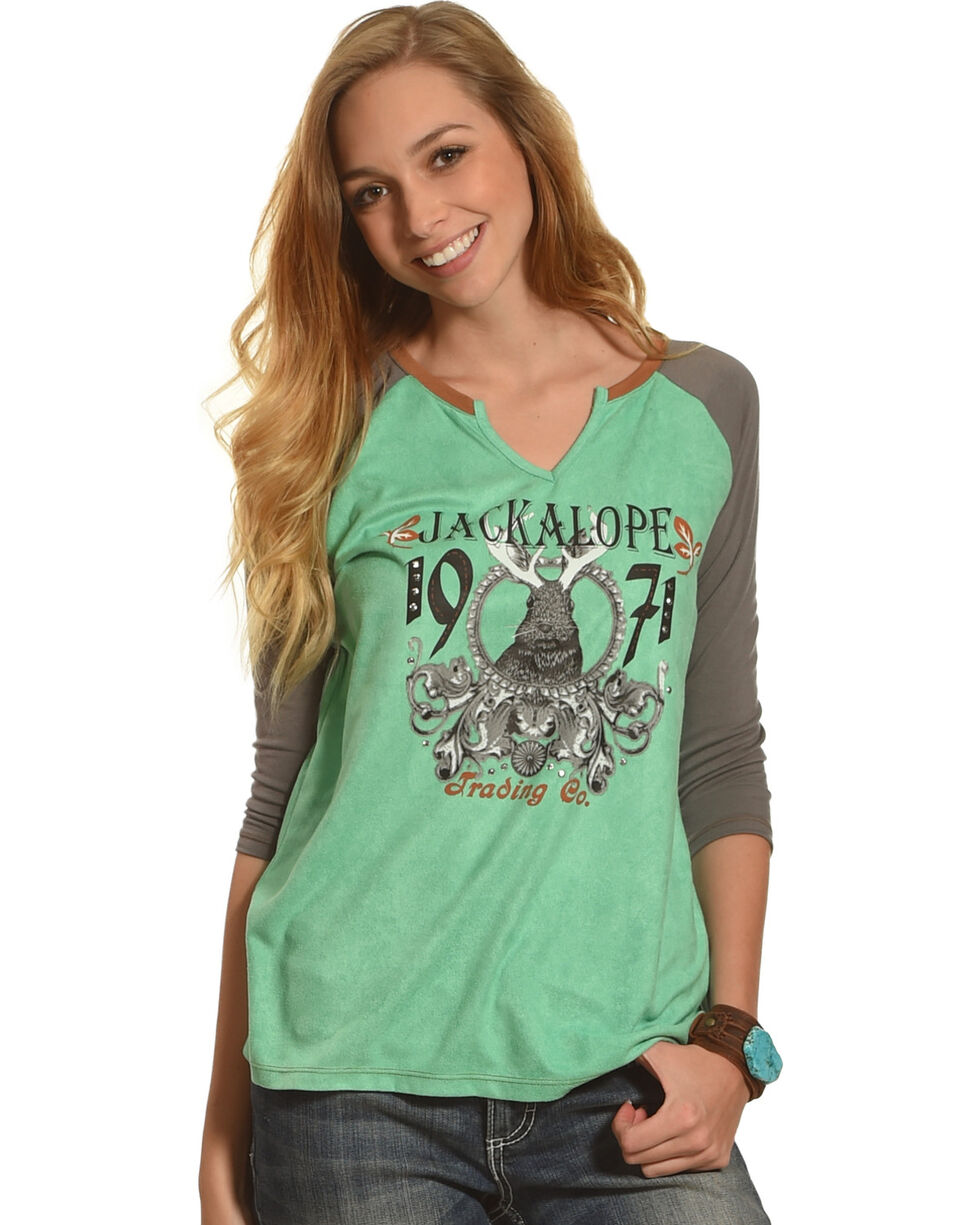 Angel Premium Women's Jackalope Baseball Tee, Grey, hi-res