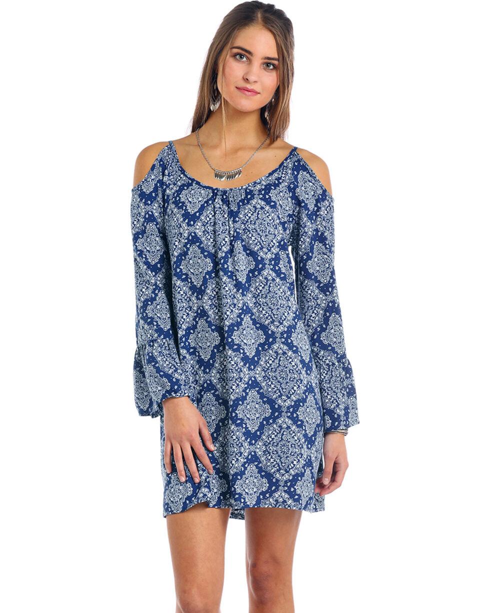 Panhandle Women's Cold Shoulder Bandana Print Dress, Blue, hi-res