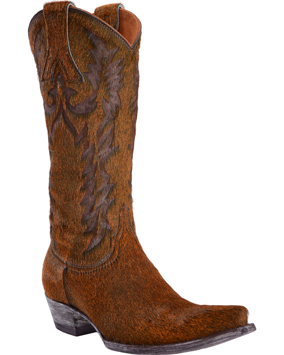 Old Gringo Women's Mayra Black/Rust Hair On Laser Stitch Cowgirl Boots - Snip Toe, Black, hi-res