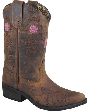 Smoky Mountain Youth Girls' Rosette Embroidered Cowgirl Boots - Snip Toe, Brown, hi-res