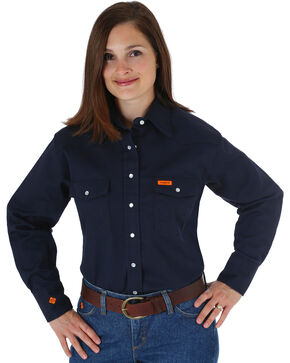 Wrangler Women's Lightweight Flame Resistant Long Sleeve Shirt, Navy, hi-res