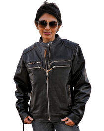 Interstate Leather Women's Gangster Motorcycle Jacket, , hi-res