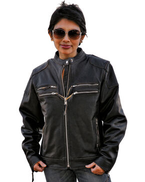 Interstate Leather Women's Gangster Motorcycle Jacket, Black, hi-res