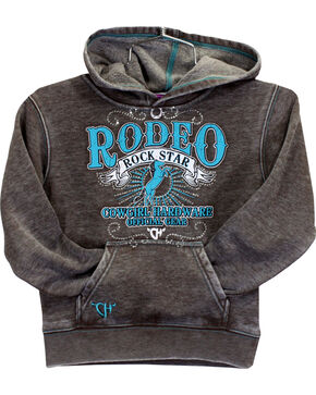 Cowgirl Hardware Girls' Rodeo Rock Star Pullover Hoodie, Brown, hi-res