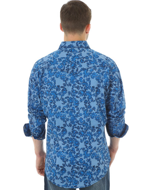 Wrangler 20X Men's Floral Printed Long Sleeve Shirt, Light Blue, hi-res