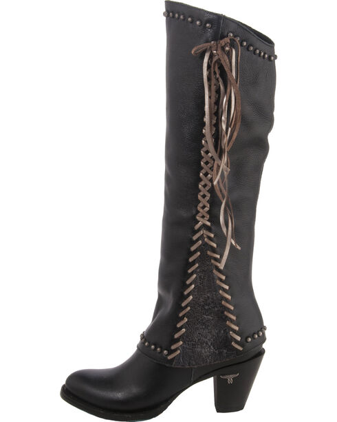 Lane Women's Hoodie Lace Western Boots, Black, hi-res