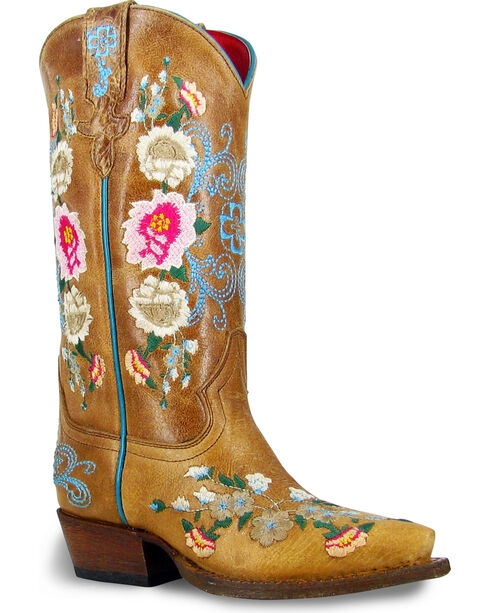 Macie Bean Girls' Rose Garden Embroidered Cowgirl Boots - Pointed Toe, Tan, hi-res