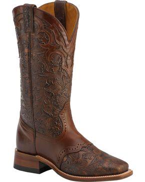 "Boulet Women's 13"" Wide Square Saddle Vamp Tooled Boots, Chestnut, hi-res"