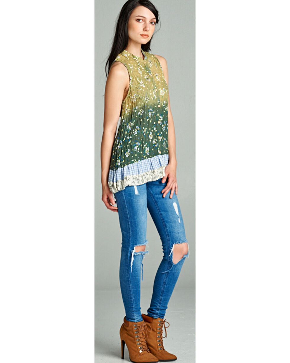 Hyku Women's Ombre Print Sleeveless Top, Green, hi-res