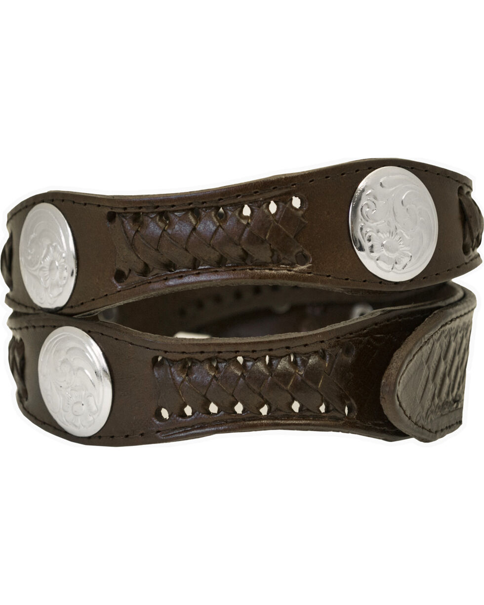 Western Express Men's Silver Concho Belt - Big, Brown, hi-res