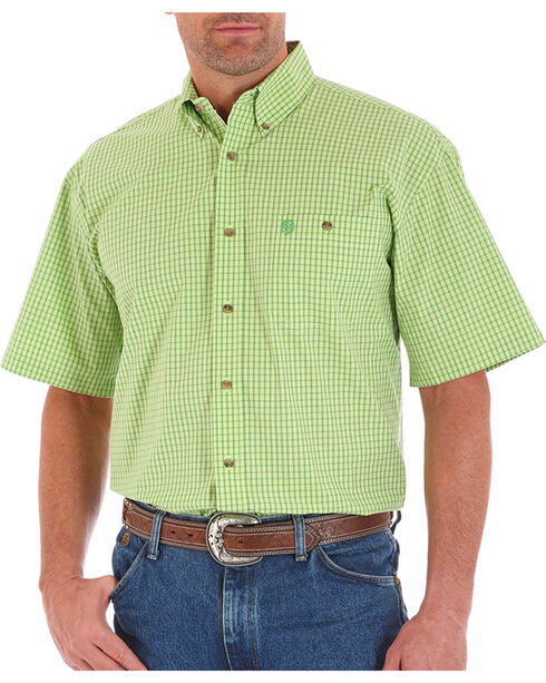 Wrangler Men's George Straight Plaid Short Sleeve Shirt, Bright Green, hi-res