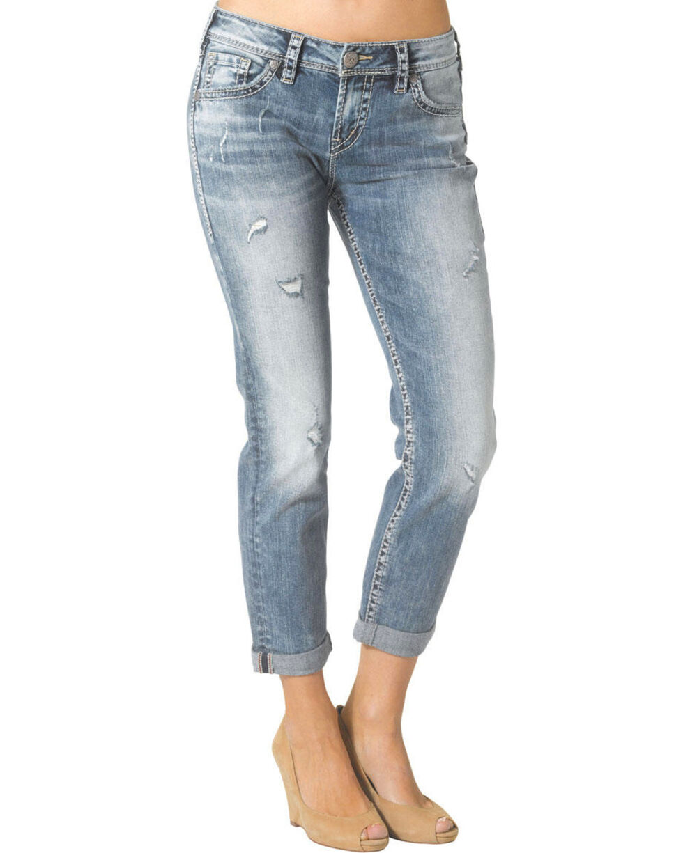 Silver Women's Boyfriend Jeans, Denim, hi-res