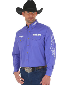 Wrangler Men's Ram Rodeo Logo Long Sleeve Shirt, Purple, hi-res