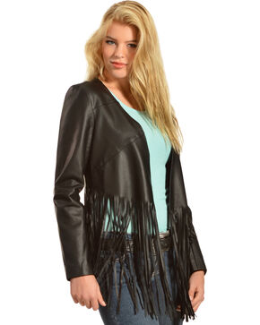 Cowgirl Justice Women's Hell on Wheels Black Fringe Jacket, Black, hi-res