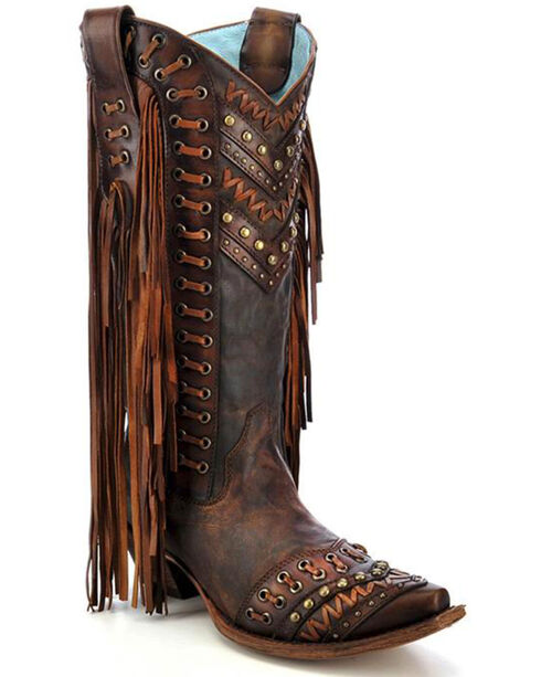 Corral Women's Studded Fringe Western Boots, Brown, hi-res