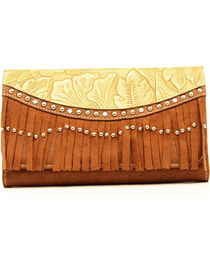 Blazin Roxx Brown Embossed Fringe Clutch, , hi-res