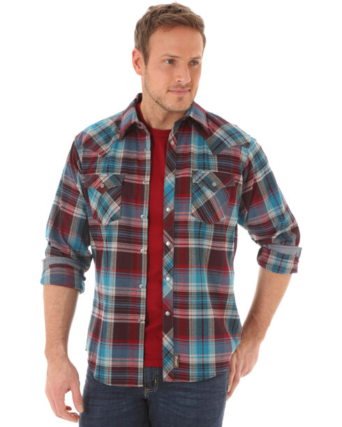 Wrangler Retro Men's Long Sleeve Wine Plaid Snap Shirt, Wine, hi-res